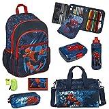 Familando Spiderman Schulranzen Set 8tlg. Scooli Rucksack mit Federmappe gefüllt Schlamper Sporttasche SPJU7614
