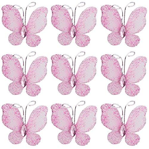 Sharplace 50stk Schmetterlinge Hochzeit Deko Mesh Stocking Glitter Schmetterlinge farbe auswahl - Rosa