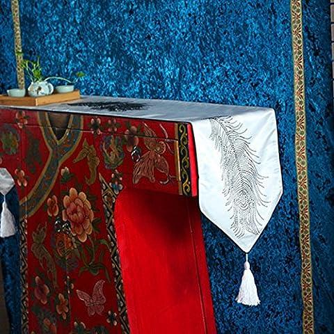 SAEJJ-Tischläufer Europäische moderne Feder Strass Tischfahne, Flag-tailed Turban satin Hochtemperatur einfügen heiß,Weiß,32 * 200cm Tischdecke