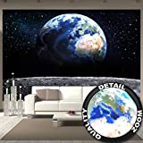 Fototapete Planet Erde Wandbild Dekoration Welt Earth Mond Galaxy Universum All Cosmos Space Weltkugel Sterne Moon Weltall Orbit | Foto-Tapete Wandtapete Fotoposter Wanddeko by GREAT ART (336 x 238cm)