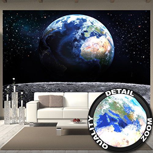 Fototapete Planet Erde Wandbild Dekoration Welt Earth Mond Galaxy Universum All Cosmos Space Weltkugel Sterne Moon Weltall Orbit | Foto-Tapete...