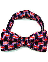 UNION JACK BOW TIE PRE TIED ADJUSTABLE SILKY SATIN