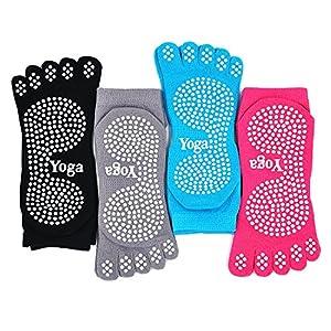 Damen Yogasocken Rutschfeste Sportsocken mit Gummisohlen, Damen Zehensocken für Pilates Yoga Tanz Gym Kampfsport, 4 Paare