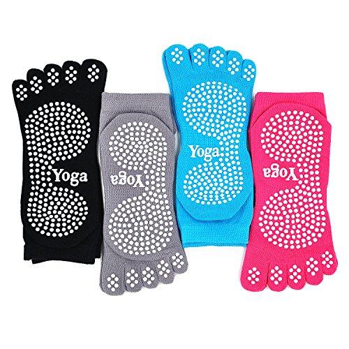 yoga calze anti scivolo pilates massaggio socks con grip esercizio palestra