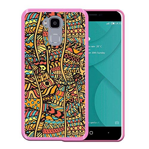 WoowCase Doogee Y6 4G Hülle, Handyhülle Silikon für [ Doogee Y6 4G ] Ethnisch-blumiger Druck Handytasche Handy Cover Case Schutzhülle Flexible TPU - Rosa
