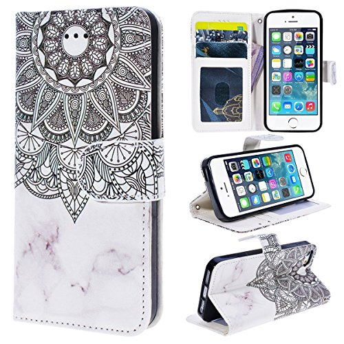 Etsue Case Cover for iPhone 6/6S 4.7,Copertura in Pelle/Leather Cover caso,Hand Embossed Varnish Leather Case,[Chiusura magnetica][assorbimento dello shock][anti-graffio],flip cover case for iPhone 6/ Modello Mandala