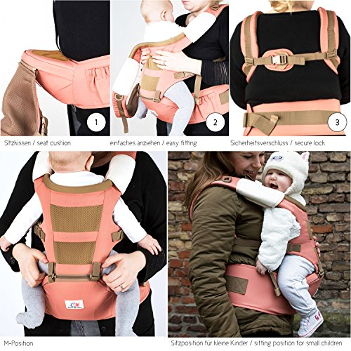 Emma & Noah Baby Carrier, Ergonomic Design for Both Child and Parents (Recommended for 6 to 36 mo.), 3 Front and Back Positions, Color: Red, including Hipseat, ideal as Toddler Carrier, Baby Carrier Backpack, Baby Holder EMMA & NOAH