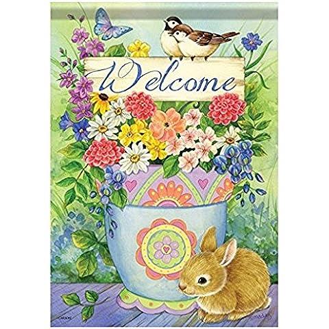 FlagTrends Classic Carson casa accenti Bandiera da giardino, Birdie bouquet - Bunny Casa Decorativa Flag