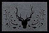 TÜRMATTE Fußmatte HIRSCH [ 4 ] Jäger Hobby Haustür Jagd Geschenk Viele Farben Dunkelgrau