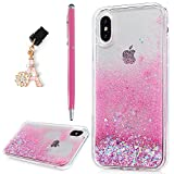 iPhone X Case, iPhone X Glitter Case, YOKIRIN Creative Design Flowing Liquid Floating Flowing Bling Shiny Sparkle Glitter Crystal Clear TPU Case Protective Shell Case Cover For iPhone X, Pink Love Heart