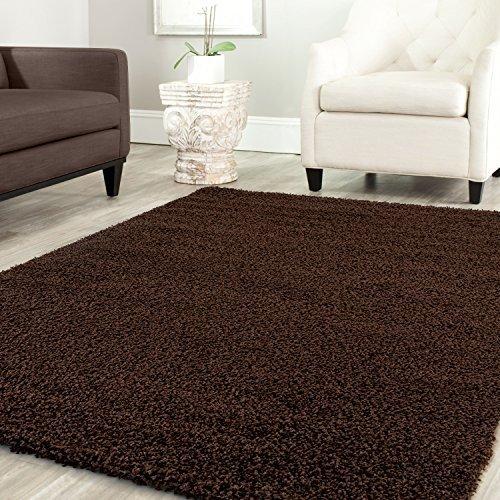 Teppich-Home Star Shaggy Teppich Farbe Hochflor Langflor Teppiche Modern für Wohnzimmer Schlafzimmer Uni Farben, Farbe:Braun, Maße:160x220 cm