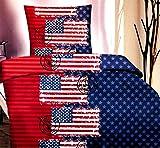 Leonado Vicenti 2 tlg. Microfaser Bettwäsche Set Kinder Jungen oder Mädchen Garnitur Kinderbettwäsche mit Reißverschluss, Maße:135 cm x 200 cm, Farbe:USA Stempel Rot