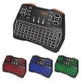 Mini Tastatur Beleuchtet (92 Tasten DE QWERTZ) mit Touchpad 2.4GHz Wireless Keyboard für Smart TV,...
