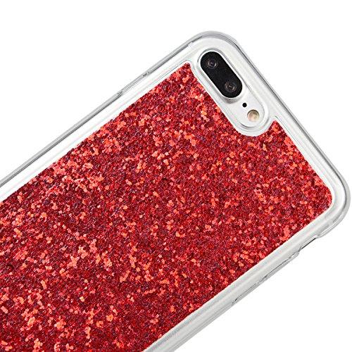 Coque iPhone 7 Plus Glitter Rose Rouge, Housse iPhone 7 Plus Silicone, GrandEver Silicone Doux Etui Souple TPU Back Case Bling Bling Éclat Sparkle Caoutchouc Gel Couverture Protecteur pour Apple iPhon Rouge