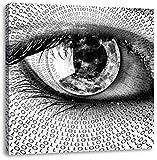Monocrome, Auge mit binärischen Code, Format: 70x70 auf Leinwand, XXL riesige Bilder fertig gerahmt mit Keilrahmen, Kunstdruck auf Wandbild mit Rahmen, günstiger als Gemälde oder Ölbild, kein Poster oder Plakat