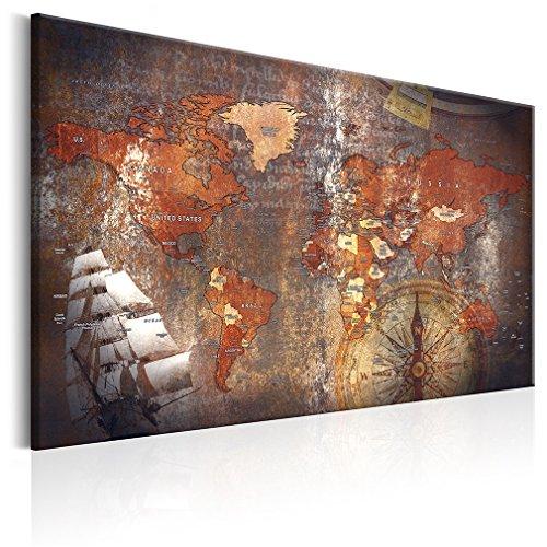 decomonkey Bilder Weltkarte 120x80 cm 1 Teilig Leinwandbilder Bild auf Leinwand Wandbild Kunstdruck Wanddeko Wand Wohnzimmer Wanddekoration Deko Welt Landkarte Kontinente -