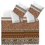 aqua-textil Bettwäsche 135x200 4teilig braun Baumwolle atmungsaktiver Bettbezug Kissen 0011763 Trend Ebony Leopard Streifen Punkte Afrika Fell