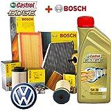Juego de mantenimiento con 5 litros de aceite Castrol Edge 5W30 y 4 filtros Bosch para Passat 2.0 TDI 3C2 81 KW