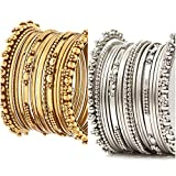 #10: Meenaz Jewellery Antique Look Gold Silver Traditional Bracelet Bangles Set Combo for Women Fancy Stylish Bangles- BA-139