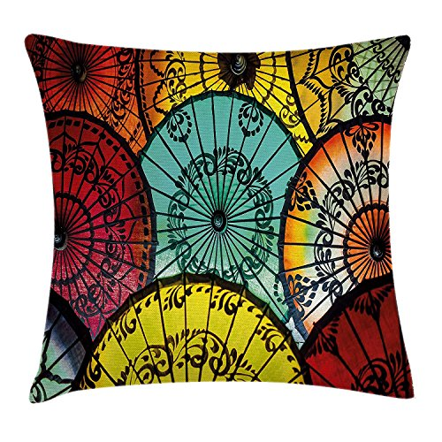 beautiful& Apartment Decor Pillow case Tribal Parasols at Indonesian Street Market Vibrant Heritage Boho Inspired Print Throw Pillow Covers 20x20 Inches (Vibe Street Halloween)