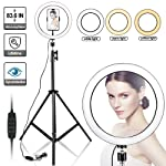 "10"" Selfie Ring Light with 210CM Long Tripod Stand & Cell Phone Holder - Ring Light for iPhone Android, Light Stand for..."