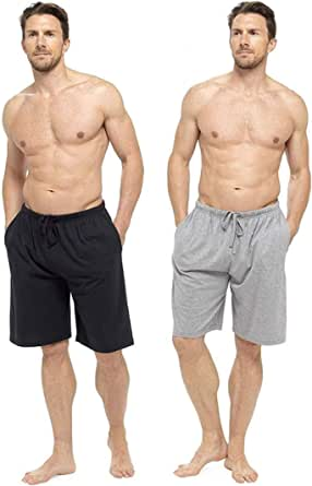 CityComfort Men's Twin Pack Pyjama Bottoms | Pack of Two Cotton Shorts with Elasticated Waist | Soft, Cosy & Comfy Lounge Shorts, Mens Pyjamas, Nightwear, Loungewear, PJs