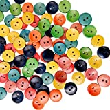 #8: Segolike 100 Pieces 15mm Wooden Buttons Random Mix Colored Card Craft Sewing Scrapbooking