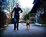 Jogging-Leine – Elastische und reflektierende 120 cm Hundeleine (bis 200 cm dehnbar) mit verstellbarem Hüftgurt aus reißfestem Nylon mit abnehmbarem Hüftbeutel – Ideal zum freihändigen Joggen, Spazieren und Wandern von Hundefreund - 2
