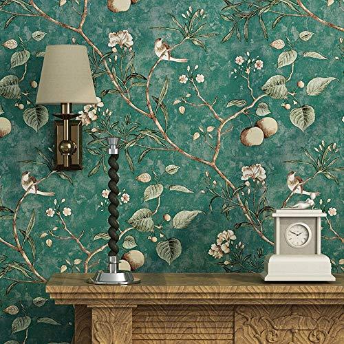 Carta da parati vintage con fiori, alberi e uccelli, per soggiorno, camera da letto, cucina, 57 m², verde smeraldo (verde smeraldo)
