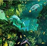 Chlwx 350cmX240cm (137.8inX94.474in) 3D-Stock Delphin Mutter Und Kind 3D Wandbild Tapeten Bodenbeläge Tapeten Für Schlafzimmer Pvc Rollen Stock Vinyl-Sticker-Roll