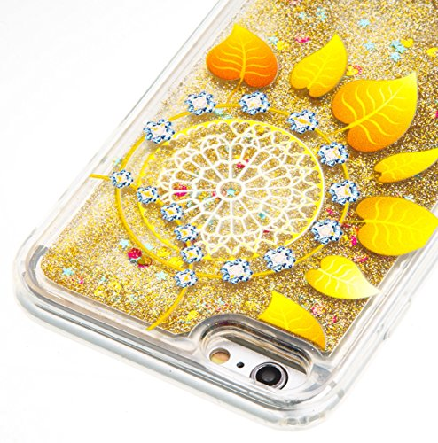 iPhone 6S Plus Hülle,iPhone 6 Plus Hülle,JAWSEU Kreative Inner Diamant Strass Bär Blumen Muster TPU Case Hülle Ultradünne Silikon Gel Schutzhülle Durchsichtig Bling Glänzend Glitzer Kristall Transpare Gold Blatt
