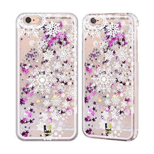 Head Case Designs Muster Schneeflocken Kunst Silber Handyhülle mit flussigem Glitter für Apple iPhone 6 / 6s