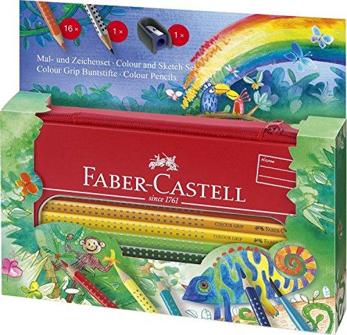 Faber-Castell 112452 - Mal- und Zeichenset Colour Grip Dschungel, 18-teilig, im Metall-Etui