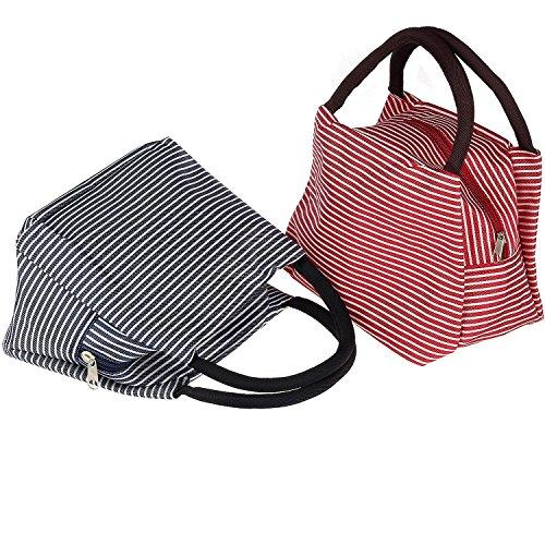 Borsa Porta Pranzo, Pupow Solido Utile Set di 2 Moda Lunch Tote Bag Lunch Bags per Viaggi, Pranzo Scolastico e Picnic.(rosso e blu)