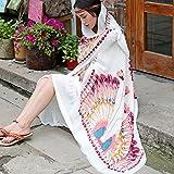 YRXDD Chal algodón étnica resort, verano, turismo sunscreen toalla de playa pañuelo de seda máscaras en grande, blanco