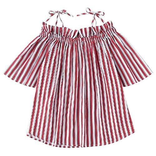 Damen Bluse Dasongff Frauen Schulterfrei Oberteil Elegante Bluse Kurz Tops Langarm-Shirt Casual Trompetenärmel Blusen Lose T-Shirt Tops Blouse (M, Rot-G)