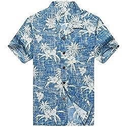 Hombres Aloha Camisa Hawaiana en Piña Azul Vintage 5XL