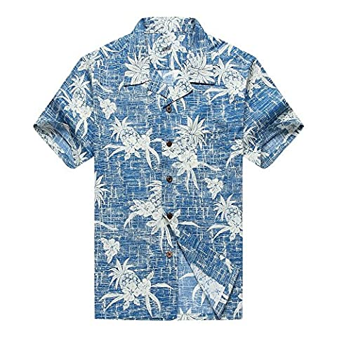 Das hawaiische Hemd der Männer Aloha Hemd 4XL Weinlese-blaue Ananas-Blumen (Hawaiianische Ananas)