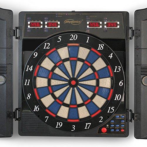 Physionics Jeu de Fléchettes Électronique - 27 Jeux (159 Variations), inc. 12 Fléchettes et 100 Pointes de Rechange - LCD Cible de Fléchettes, Dartboard, Darts
