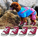 #3: Pet Dog Cute Puppy Nonslip Canvas Sport Shoes Sneaker Boots Rubber Sole 4 Pcs 1 Set - Color May (5# (LxW) - 5.7cm X 4.5cm /(2.2inch * 1.8inch))