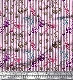 Soimoi Lila japanischer Kreppsatin Stoff Streifen, Beeren und Himbeer Obst Dekor Stoff gedruckt 1 Meter 42 Zoll breit