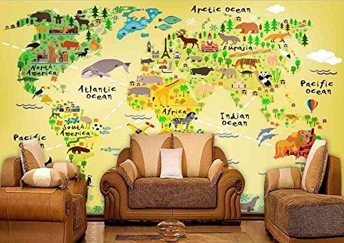 Yosot Tapete 3d Benutzerdefinierte Nationalen Iconic Tiere Und Karte, Cartoon Für Kinder Zimmer Park Wohnzimmer Wand Papier-250Cmx175Cm (Park Tiere National)