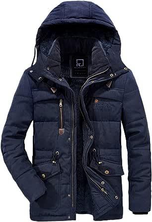 R RUNVEL Men's Winter Thicken Parka Coat Warm Fleece Jacket with Removable Hood
