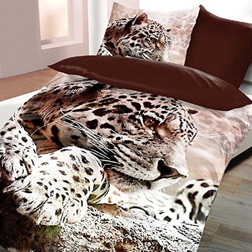 4-teilig Microfaser Wende Bettwäsche Set Bettbezug 135x200cm Kissenbezug 80x80cm NEU Katze Leopard Creme Sand (Mädchen Für Leopard-druck-bettwäsche)