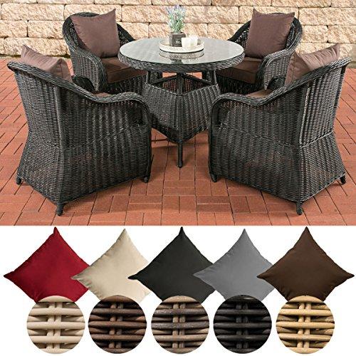 CLP Poly-Rattan Garten-Sitzgruppe FARSUND, 5 mm Rund-Geflecht (4 Stühle + Tisch rund Ø 90 cm, 10 cm Sitzkissen) Rattan Farbe schwarz, Bezugfarbe: Terrabraun