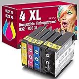 ms-point® 4 kompatible Druckerpatronen mit Chip für HP OfficeJet 6100 6600 6700 7110 7600 7610 7612 ersetzt NR. 932 933 CN053AE CN054AE CN055AE CN056AE