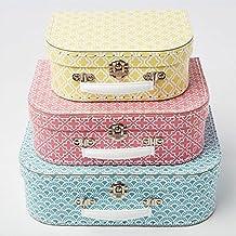 Sass & Belle - Juego de 3 maletas, estilo marroquí, color azul, rosa y amarillo
