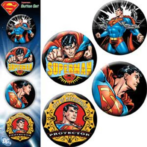 "Preisvergleich Produktbild SUPERMAN Asstorted Action 4 Pieces Button Taste Set, Officially Licensed DC Comics Superhero, Originals SUPERMAN Assorted gemischtArtwork KunstwerkButton Taste Set - 1.25"" Each jeder"