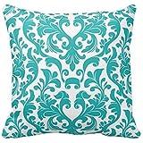 Manta de flor de Turquesa y Blanco Funda de almohada cubre diseño de flores para casa sofá decoración 18x 18pulgadas de dos caras