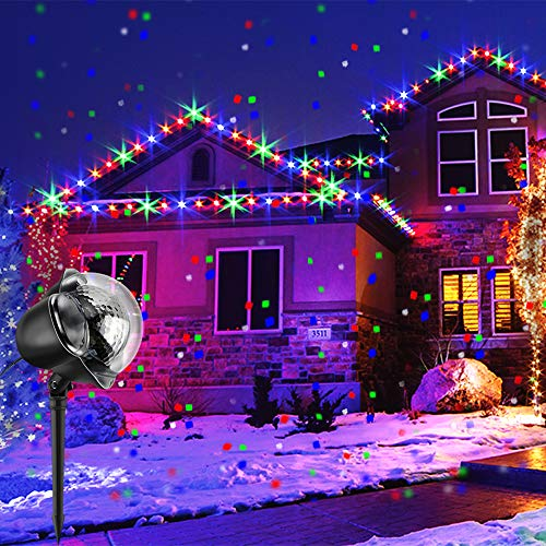 ProjektorLicht Wasserdicht Weihnachten Schneefall Projektor Leuchten mit drahtloser Fernbedienung und Timing Funktion für Außen und Innen Deko,Partys, Weinachten und Feiertage ()
